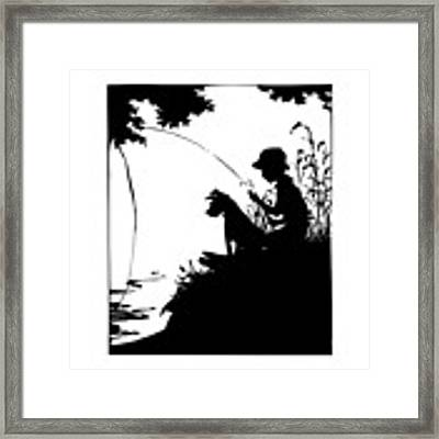 Silhouette Of A Boy Fishing With His Dog Framed Print by Rose Santuci-Sofranko