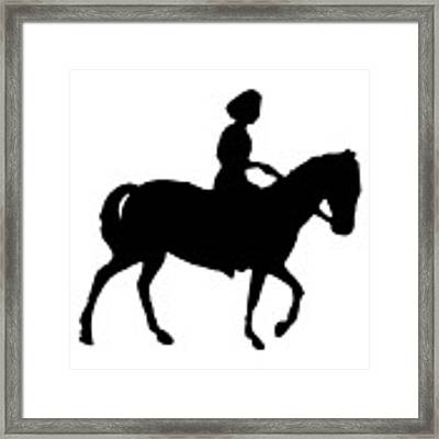 Silhouette Of A Woman On Horseback Framed Print by Rose Santuci-Sofranko