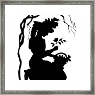 Silhouette Woman Picking Roses Framed Print by Rose Santuci-Sofranko