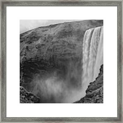 Skogafoss Iceland Black And White Framed Print by Nathan Bush