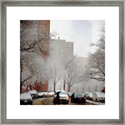 Snowy Street Scene Framed Print by Alison Frank