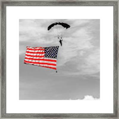 Socom Flag Jump In Selective Color Framed Print by Doug Camara