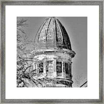South Carolina State Hospital Dome Black And White 3 Framed Print by Lisa Wooten