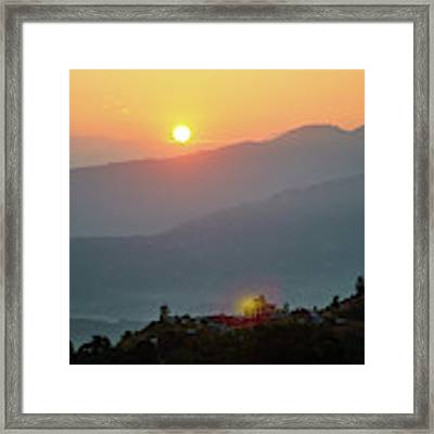 Sunset Above Mountain In Valley Himalayas Mountains Framed Print by Raimond Klavins