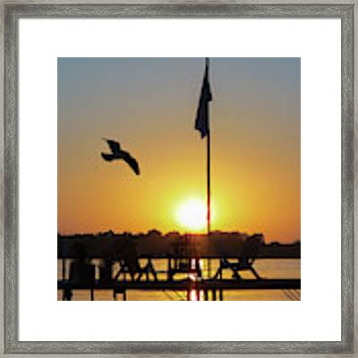 Sunset Dock Flag Silhouette Framed Print by Patti Deters