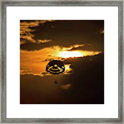 Sunset Parasailing In Key West Framed Print by Bob Slitzan