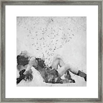 Sweet Jenny Bursting With Music In Black And White Framed Print by Nikki Marie Smith