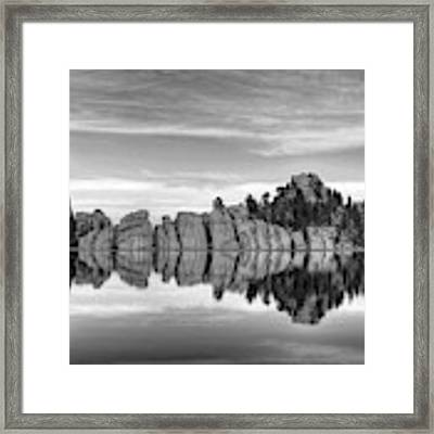Sylvan Lake Reflections Black And White Framed Print by Mel Steinhauer
