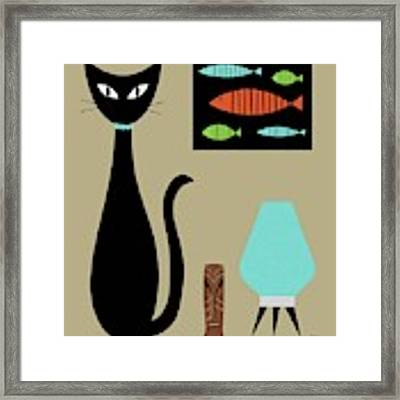 Tabletop Cat With Turquoise Lamp Framed Print by Donna Mibus