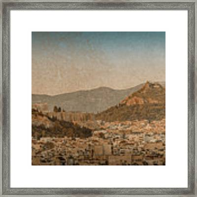 The Acropolis And Lykabettus Hills Framed Print by Mark Forte
