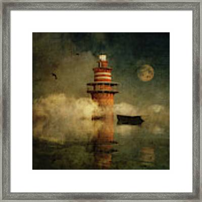 The Lonely Lighthouse In The Fog With Full Moon Framed Print by Jan Keteleer