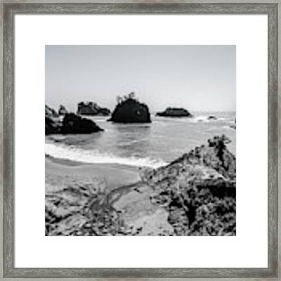 The Oregon Coast In Black And White Framed Print by Margaret Pitcher