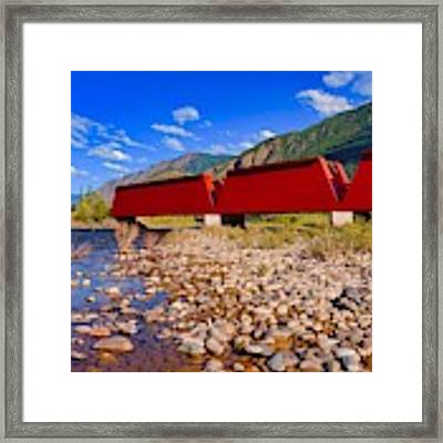The Red Bridge Framed Print by Bryan Smith