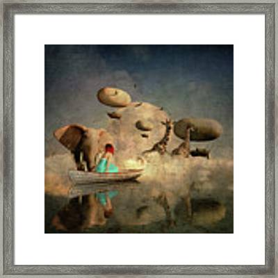The Run Of The Animals To The Ark Framed Print by Jan Keteleer