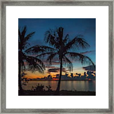 Twin Palms Sunrise Framed Print by Tom Claud