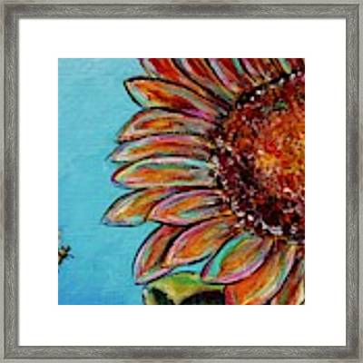 Sunflower With Bee Framed Print by Jacqueline Athmann