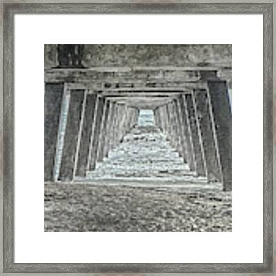 Under The Tybee Island Pier Framed Print by Judy Hall-Folde