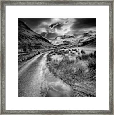 Valley Sunset Snowdonia Bw Framed Print by Adrian Evans