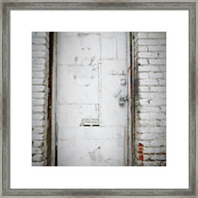 White Steel Factory Door Chinatown Washington Dc Framed Print by Edward Fielding