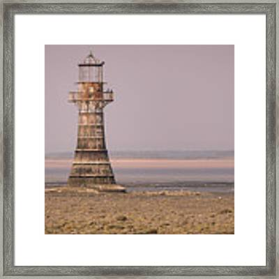 Whiteford Point Lighthouse In Pink Framed Print by Elliott Coleman
