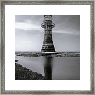 Whiteford Point Lighthouse Reflections Framed Print by Elliott Coleman