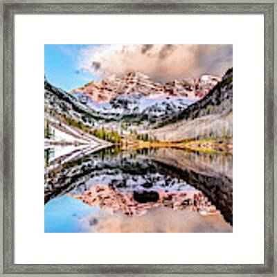Wide Angle Maroon Bells Panoramic Landscape Framed Print by Gregory Ballos