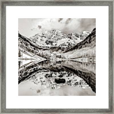 Wide Angle Maroon Bells Panoramic Landscape - Sepia Framed Print by Gregory Ballos