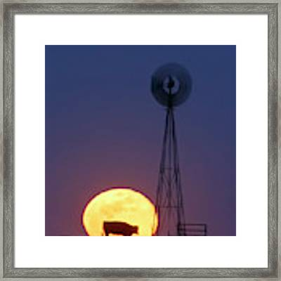Windmill And Moon 01 Framed Print by Rob Graham