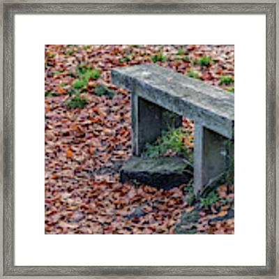 Wooden Autumn Bench Framed Print by Scott Lyons