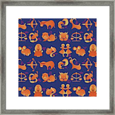 Zodiac Signs Set Framed Print by Ariadna De Raadt