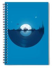 Moon Digital Art Spiral Notebooks