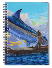Blue Marlin Paintings Spiral Notebooks