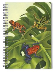 Green Tree Frogs Paintings Spiral Notebooks