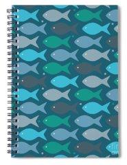 Abstract Fish Digital Art Spiral Notebooks
