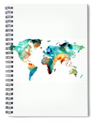 Map Of The World Spiral Notebooks