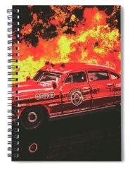 Vintage Fire Truck Photographs Spiral Notebooks