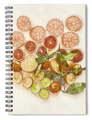 Mixed Fruit Drawings Spiral Notebooks