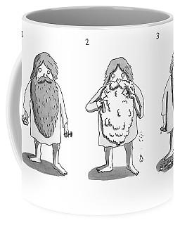 1. Man With Long Beard Holds Razor And Shaving Coffee Mug