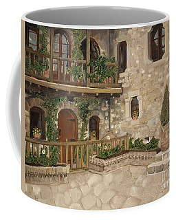 Greek Courtyard - Agiou Stefanou Monastery -balcony Coffee Mug