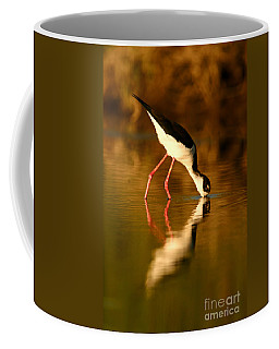 Coffee Mug featuring the photograph  Black-necked Stilt Reflection by John F Tsumas