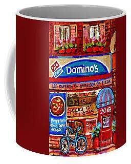 Domino Pizzeria Resto Bistro Cote St Luc Pizza Pie Cafe Paintings Cityscenes Carole Spandau Coffee Mug
