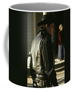 Coffee Mug featuring the photograph  Johnny Cash About To Draw On Kirk Douglas Old Tucson Arizona 1971 by David Lee Guss