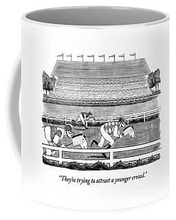 Men Race On Toy Horses Coffee Mug