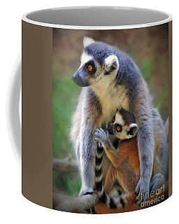 Coffee Mug featuring the photograph    Mother And Baby Monkey by Savannah Gibbs