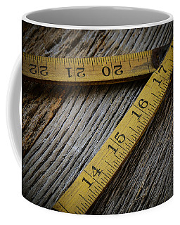 Old Tape Measure On Rustic Wood Background Coffee Mug