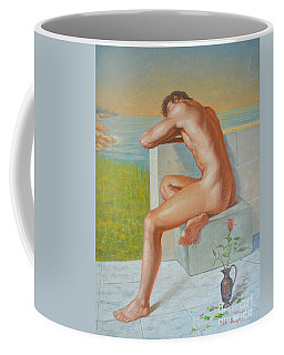 Original Classic Oil Painting Man Body Art  Male Nude And Vase #16-2-4-09 Coffee Mug