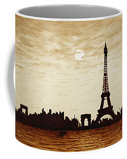 Paris Under Moonlight Silhouette France Coffee Mug