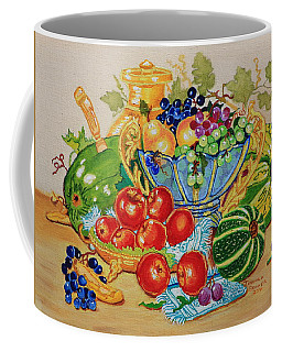 Red Apples And  Grapes Oil Painting Coffee Mug