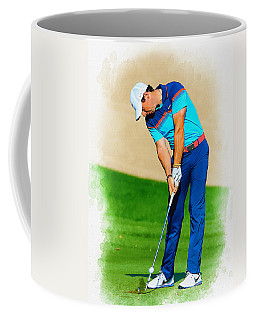 Rory Mcilroy Plays His Second Shot On The Par 4 Coffee Mug