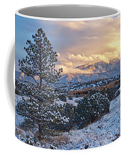 Sandia Mountains With Snow At Sunset Coffee Mug